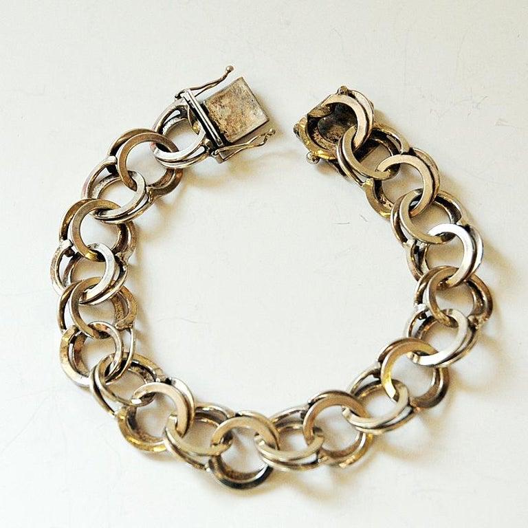 Vintage Silver Bracelet with Rings by Curt Hallberg, Sweden, 1974 For Sale 1