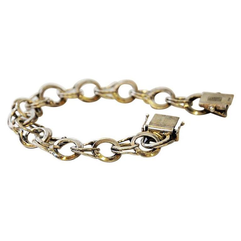 Vintage Silver Bracelet with Rings by Curt Hallberg, Sweden, 1974 For Sale