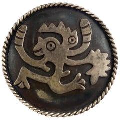Vintage Silver Brooch W/ Aztec Inspired Design