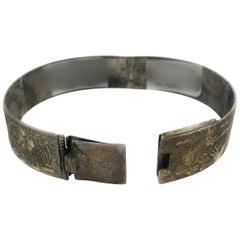 Vintage Silver Carved Panel Bracelet