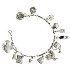 Vintage Silver Charm Link Bracelet