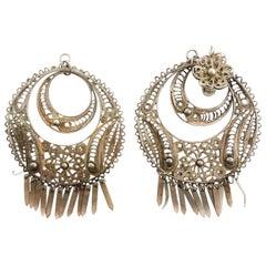 Vintage Silver Circle Chandelier Earrings