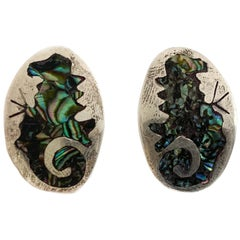 Vintage Silver Earrings W/ Abalone Shell Design