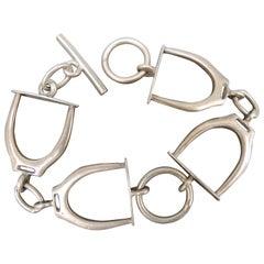 Vintage Silver Equestrian Bracelet with Stirrup Links