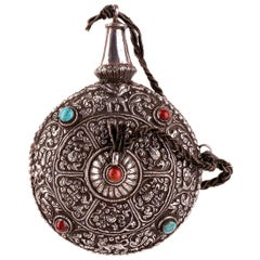Vintage Silver Flask, Tibet, Early 20th Century
