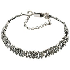 Vintage Silver Floral Link Bracelet
