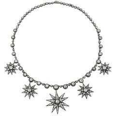 Vintage Silver Gold and Diamond Star Riviére Necklace