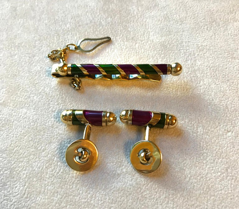 Women's or Men's Vintage Silver Gold-Plated Cufflinks Tie Pin Set For Sale