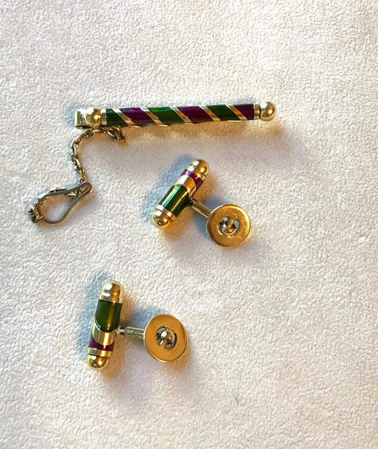 Vintage Silver Gold-Plated Cufflinks Tie Pin Set For Sale 1