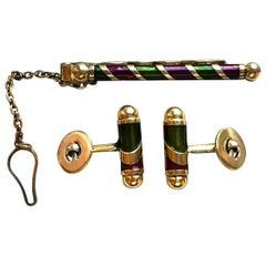 Vintage Silber vergoldete Manschettenknöpfe Krawatte Pin-Set