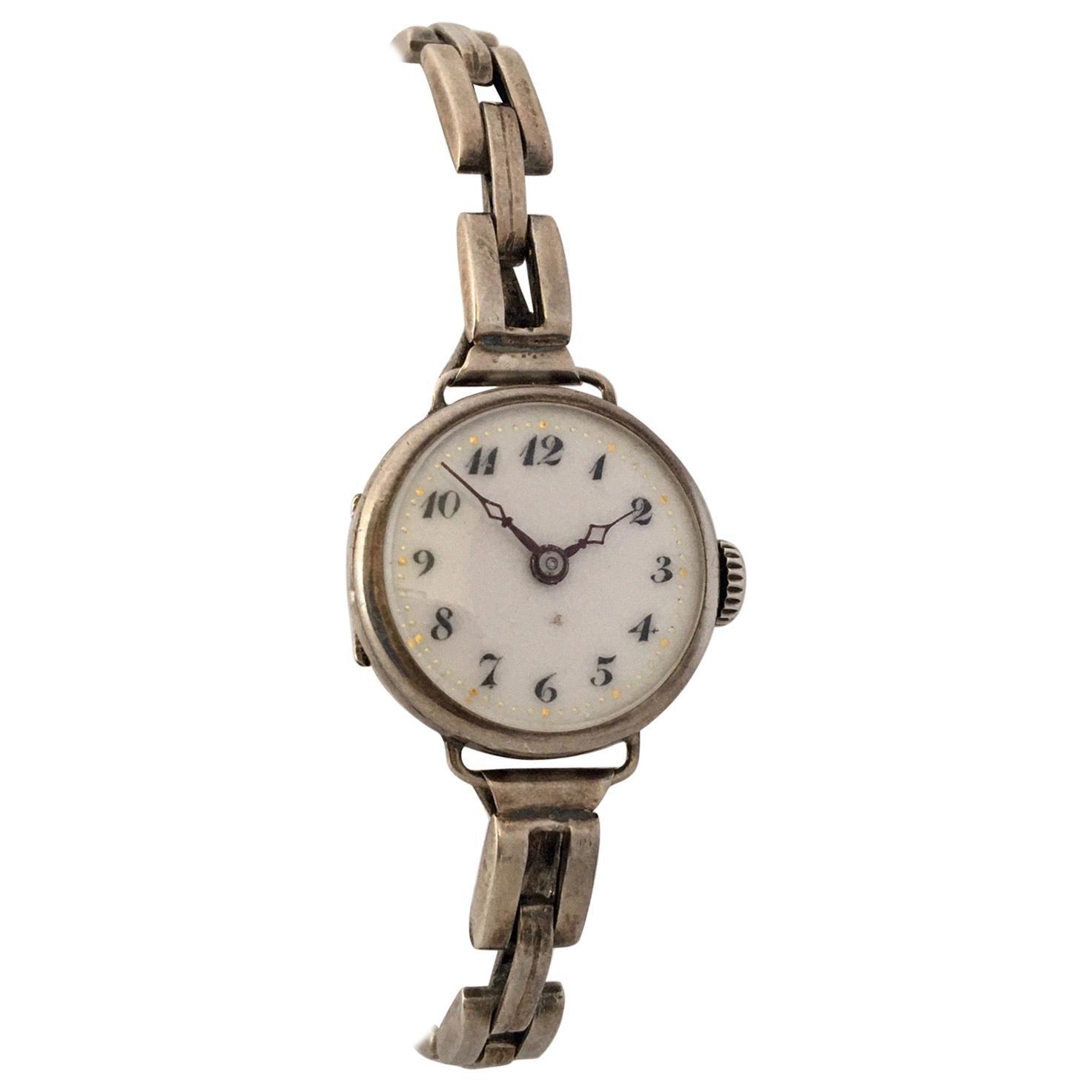 Vintage Silver Ladies Mechanical Ladies Trench Watch