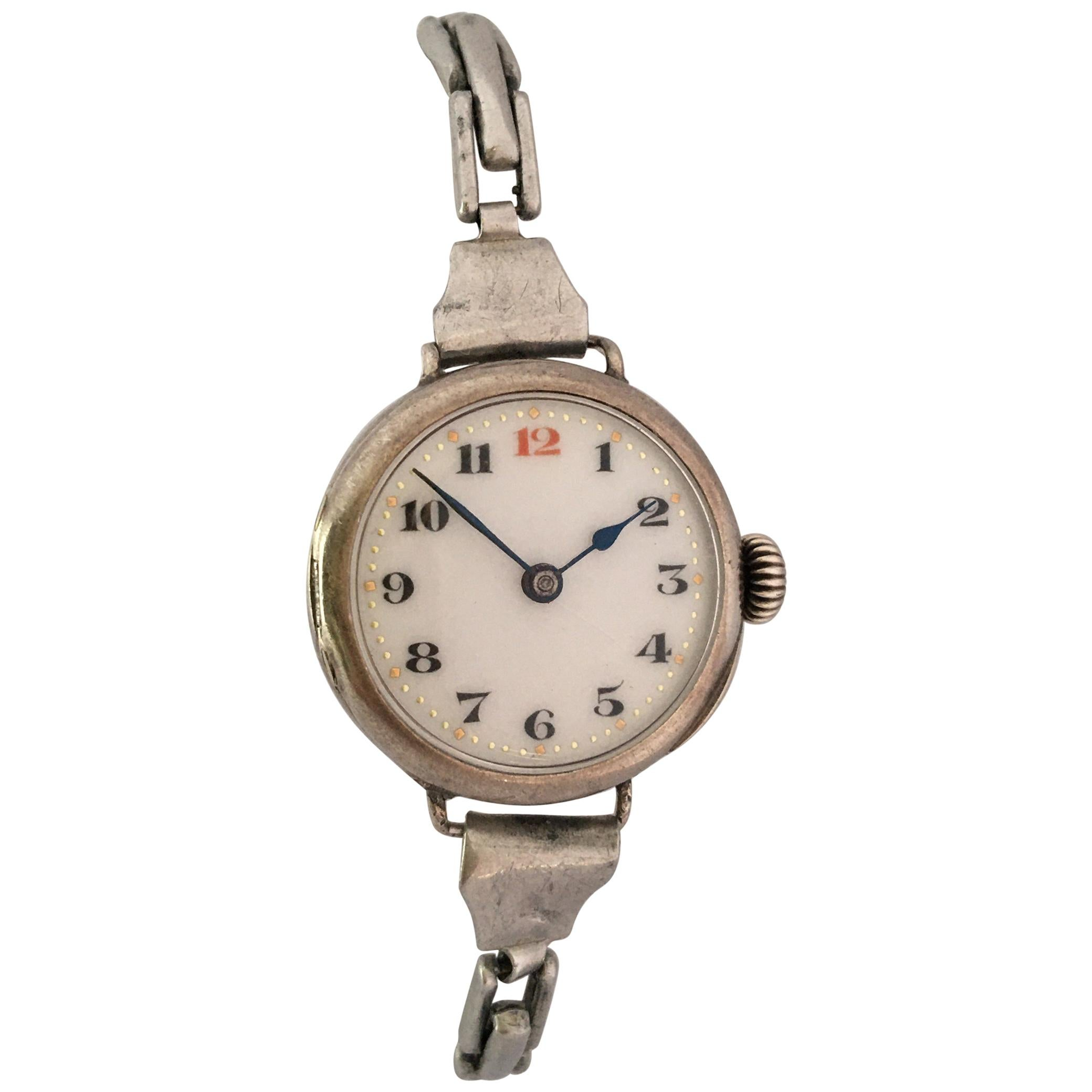 Vintage Silver Ladies Mechanical Trench Watch