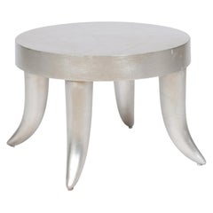 Vintage Silver Leaf Tusk Stool by Bill Sofield for Baker