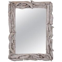 Vintage Silver Leafed Driftwood Mirror