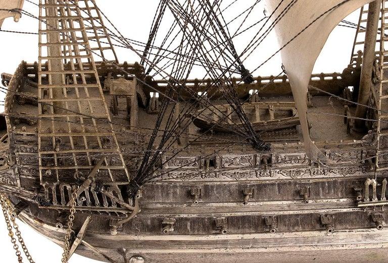 European Vintage Silver Model of Sailing Ship