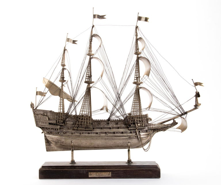 Vintage Silver Model of Sailing Ship