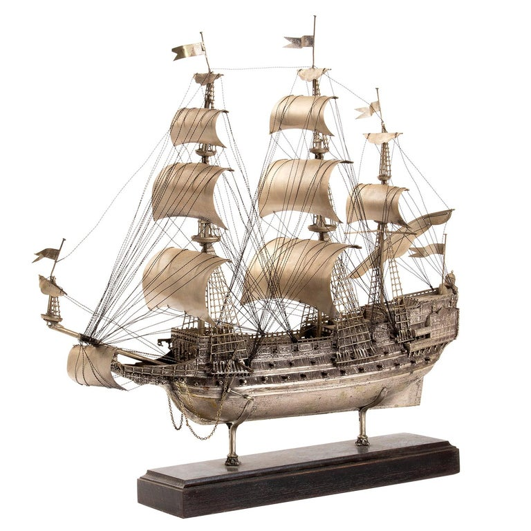 """Vintage Silver Model of Sailing Ship """"HMS ROYAL"""", Early 20th Century For Sale"""