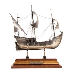 """Vintage Silver Model of Sailing Ship """"HMS ROYAL"""", Early 20th Century"""