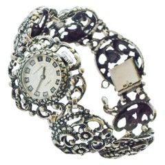 Vintage Silver Open-Worked Quartz Prisma Watch
