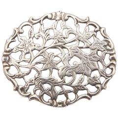 Vintage Silver Openwork Art Nouveau Style Floral Brooch