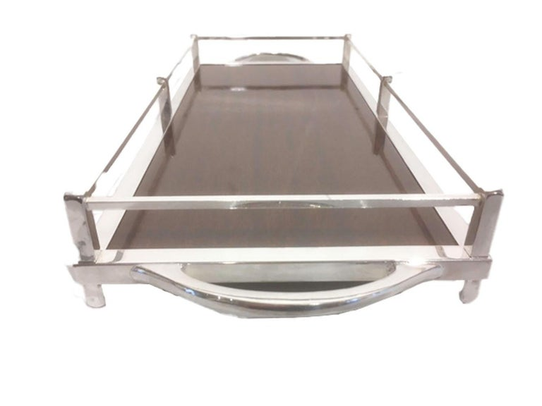 Vintage serving or drinks tray with silver plate frame having a post and rail gallery with