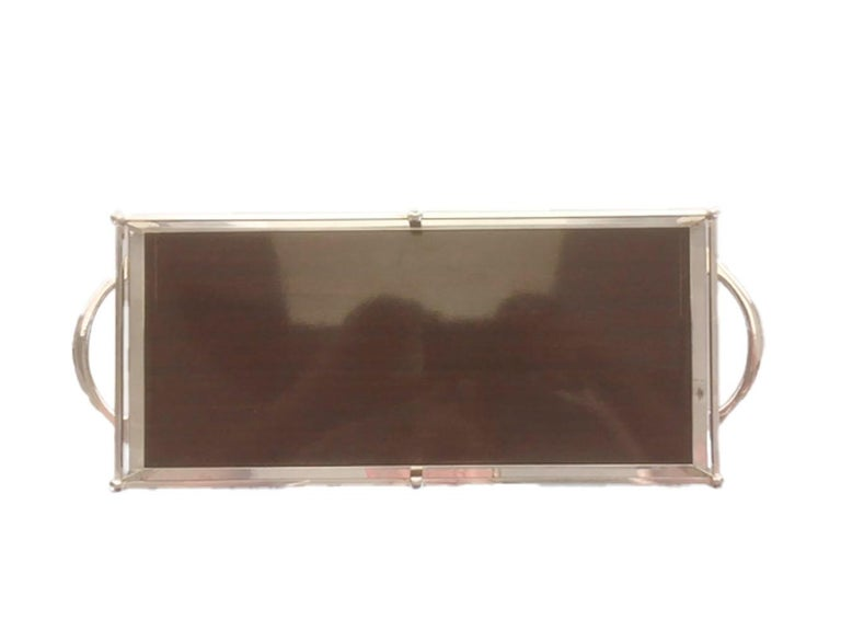 Mid-Century Modern Vintage Silver-Plate Galleried Serving Tray by Crescent with Surface by Formica For Sale
