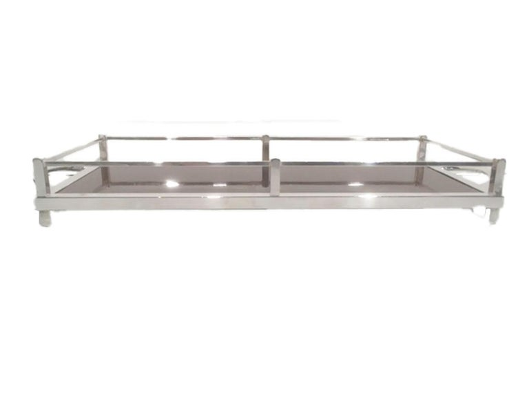 American Vintage Silver-Plate Galleried Serving Tray by Crescent with Surface by Formica For Sale