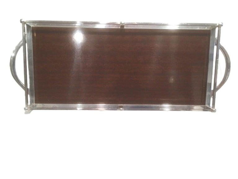 Vintage Silver-Plate Galleried Serving Tray by Crescent with Surface by Formica In Good Condition For Sale In Nantucket, MA