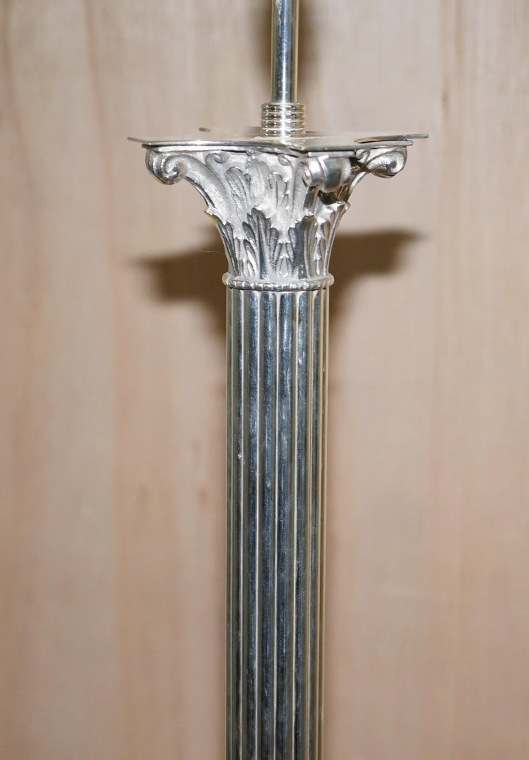 Vintage Silver Plated Corinthian Pillared Floor Standing Lamp Hairy Paw Feet For Sale 4