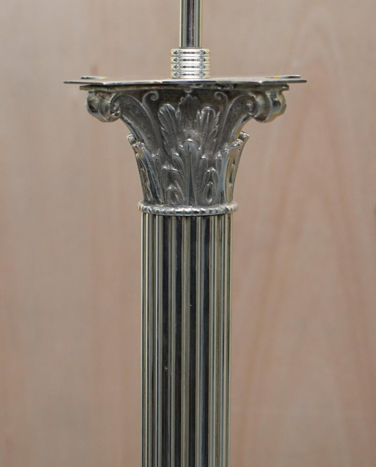 Vintage Silver Plated Corinthian Pillared Floor Standing Lamp Hairy Paw Feet For Sale 5