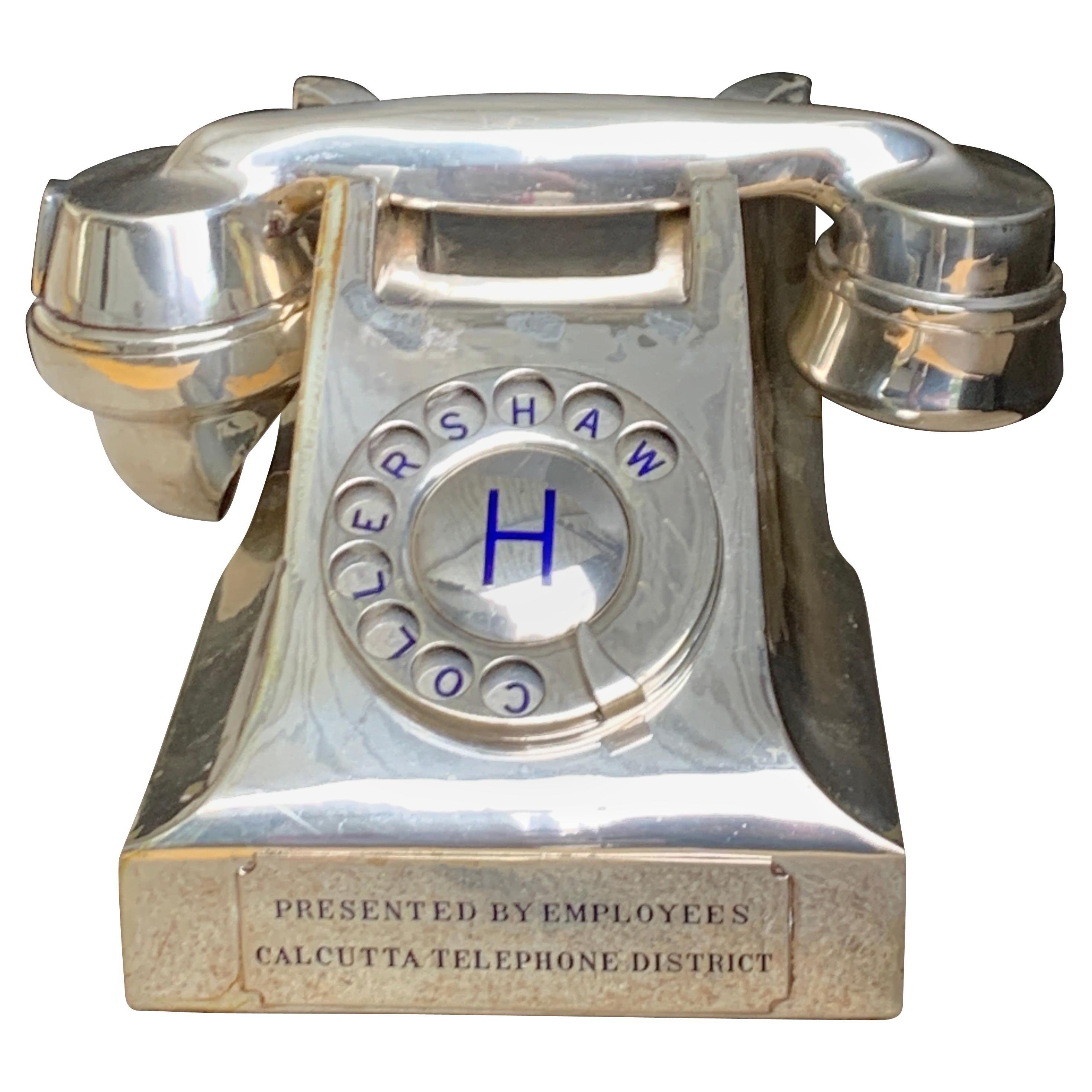 Vintage Silver Plated Presentation Intercom Telephone