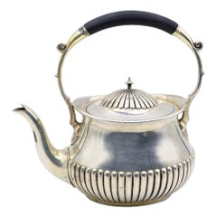 Vintage Silver-Plated Teapot with Horn Handle, Europe, Early 20th Century
