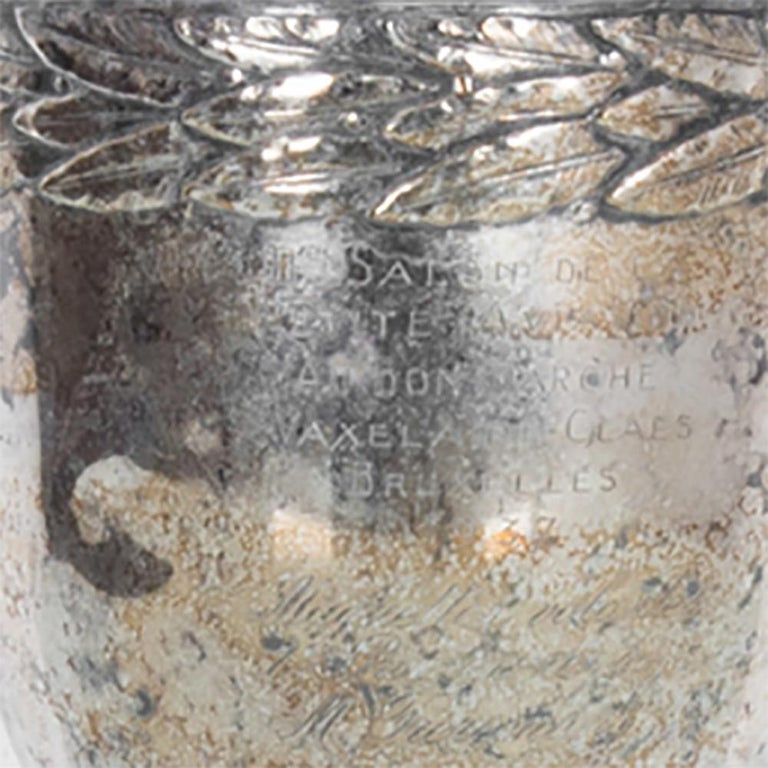 French Vintage Silver Plated Trophy For Sale