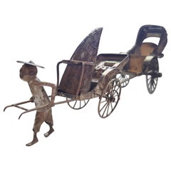 Vintage Silver Salt and Pepper Shaker, Asian, Two Rickshaw Carts Pulled by Man