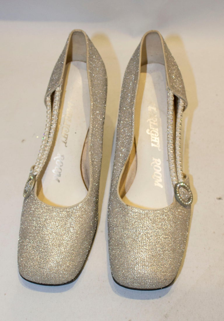 Vintage Silver  Shoes by Starlight Room In Good Condition For Sale In London, GB