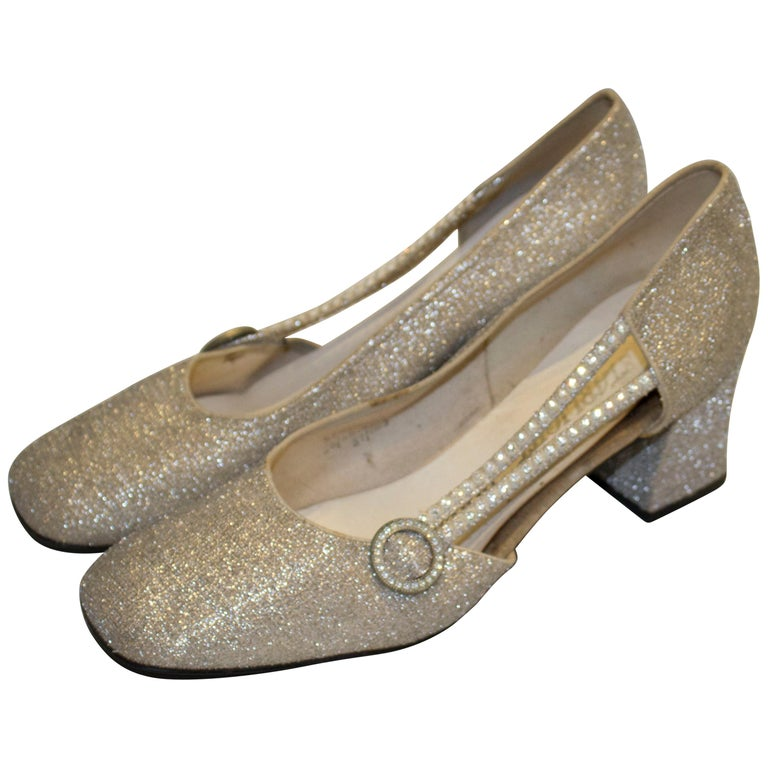 Vintage Silver  Shoes by Starlight Room For Sale
