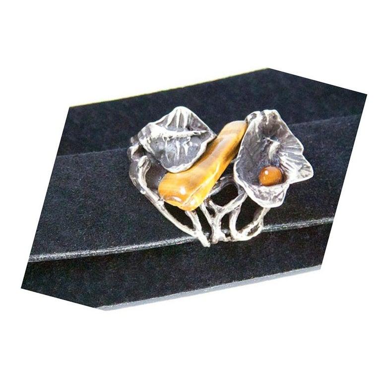 Women's Vintage Silver Tiger-Eye Floral Heirloom Cuff Bracelet For Sale
