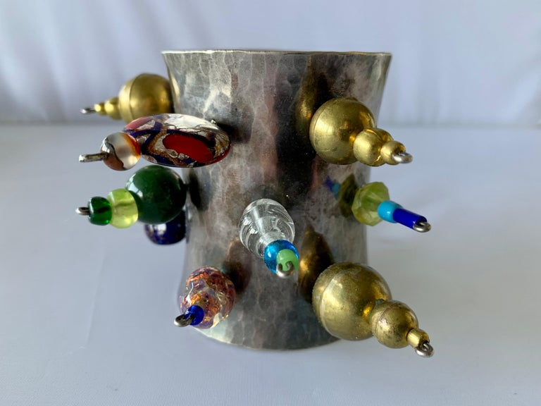 Vintage Silver-tone Art Glass Cuff Bracelet by Christian Lacroix  In Excellent Condition For Sale In Palm Springs, CA