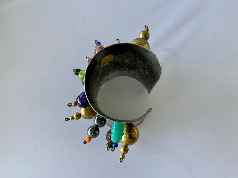 Vintage Silver-tone Art Glass Cuff Bracelet by Christian Lacroix  For Sale 2