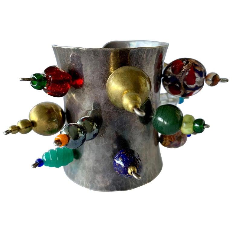 Vintage Silver-tone Art Glass Cuff Bracelet by Christian Lacroix  For Sale