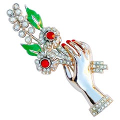 Vintage Silver Tone Hand Holding Flowers Figural Brooch, 1940s