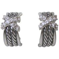 Vintage Silver Tone Rhinestone Half Hoop Earrings