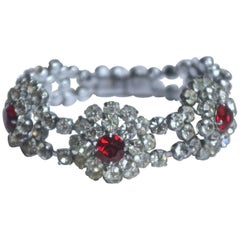 Vintage Silver Tone Ruby Red and Clear Rhinestone Bracelet, circa 1950s