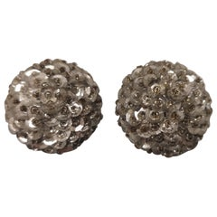 Vintage silver tone with small beads clip on earrings