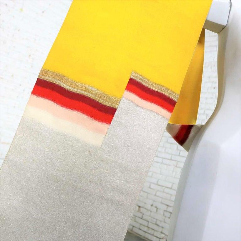 Vintage Silver & Yellow Silk Japanese Obi with Red Gold Orange White Geometric D 4