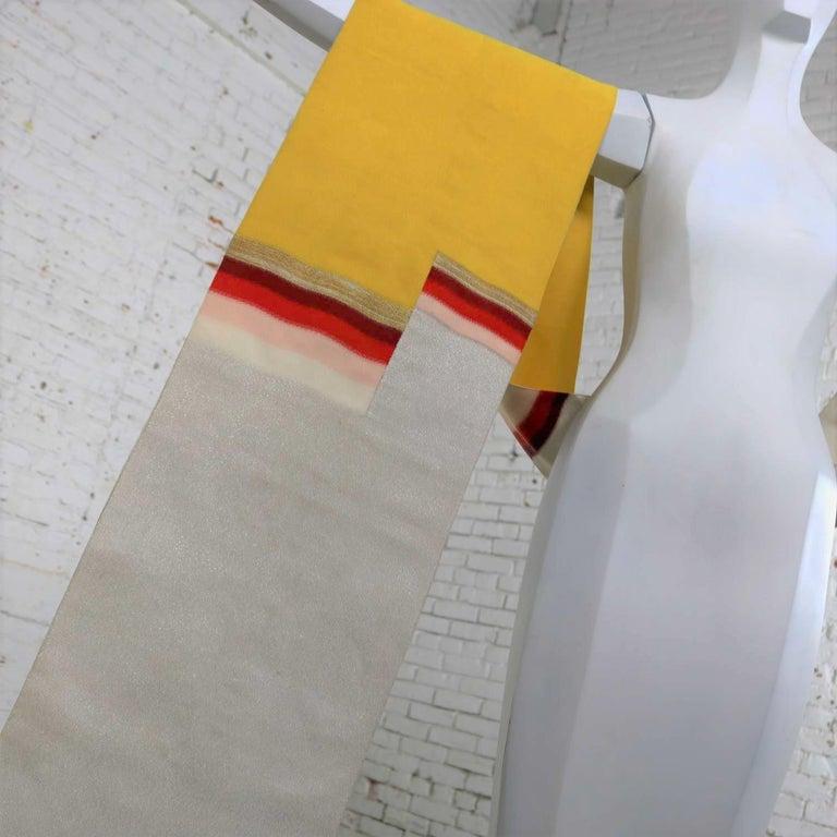 Vintage Silver & Yellow Silk Japanese Obi with Red Gold Orange White Geometric D 5
