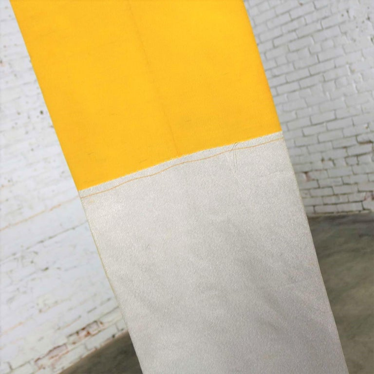 Vintage Silver & Yellow Silk Japanese Obi with Red Gold Orange White Geometric D 8