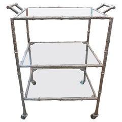 Vintage Silvered Metal Three Tiered Bar Cart