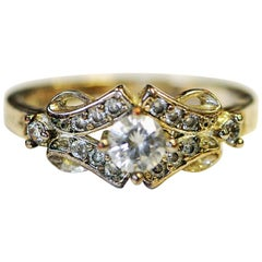 Vintage Silverring with Crystalclear Stones 1960s, Scandinavia