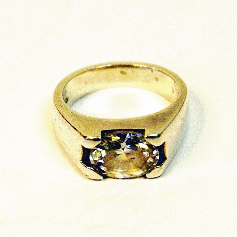 Swedish Vintage Silverring with Cut Rock Crystal Stone 1970s, Sweden For Sale